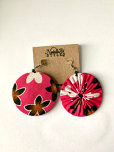 Pink,Brown &White Ankara Reversible Earrings