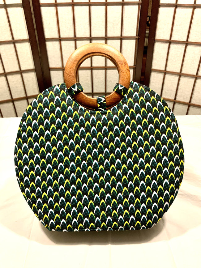 Green/Yellow Fire Leaves 'Nola' Wood-handled Tote