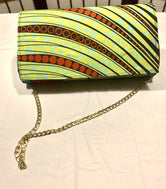 Green & Blue Floral (back) lines front 'Karen' Clutch with chain strap