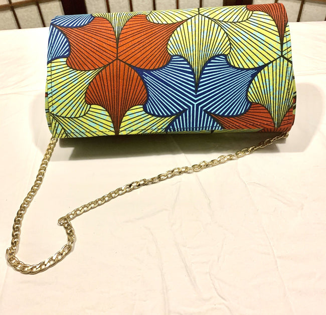 Green Blue Floral (front) lines back 'Karen' Clutch with chain strap
