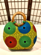Green, Red, Blue Circles 'Nola' Wood-handled Tote