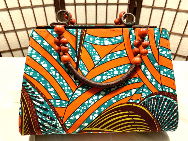 "Orange, Turquoise 'Ashanti' beaded ""catch all"" Tote"