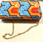 Orange Blue Geometric 'Karen' Clutch with chain strap