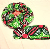 Pink, Green & White Nightcap Head Bonnet with Wrap Headband
