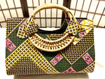 "Pink and Green 'Ashanti' Woven handle ""Catch All"" Tote"