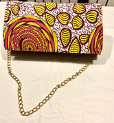 Pink White & Yellow 'Karen' Clutch with chain strap
