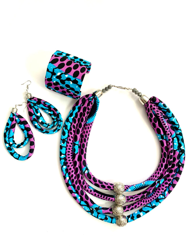 Purple/Turquoise Neckpiece Cuff Earrings