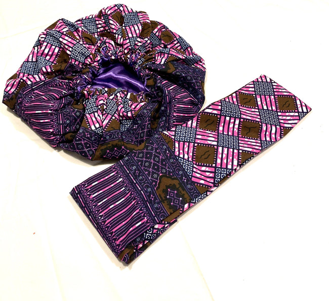 Purple, Pink and Brown Nightcap Head Bonnet with Wrap Headband