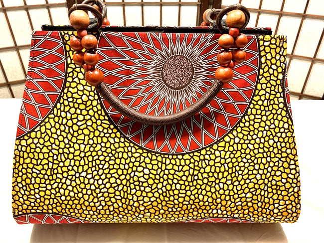 "Red Sunflower 'Ashanti' beaded ""catch all"" Tote"