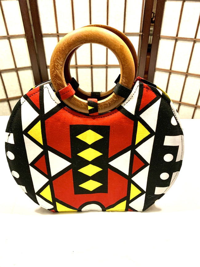 Red, Yellow Black 'Nola' Wood-handled Tote