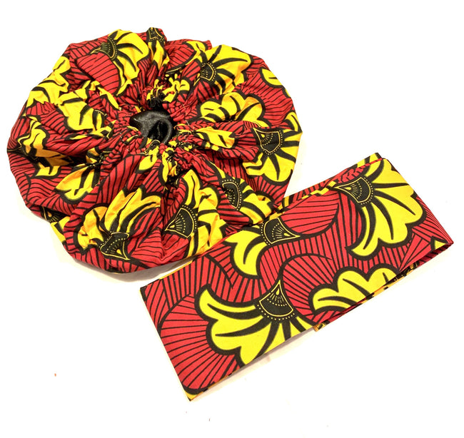 Red, Yellow Floral Nightcap Head Bonnet with Wrap Headband