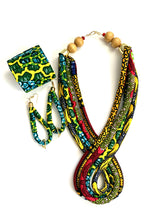 Teardrop Necklace Tie Cuff Ankara Corded Set