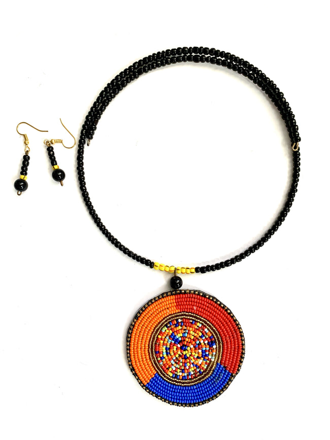 Tri-color Masai Pendant & Earrings Set