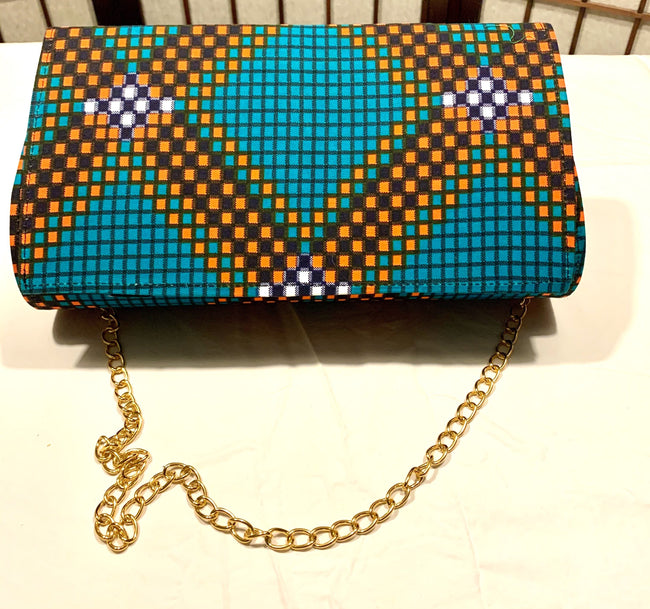 Turquoise Orange Diagonal Diamonds 'Karen' Clutch with chain strap