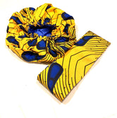 Yellow & Blue Peacock Nightcap Head Bonnet with Wrap Headband