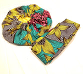 Yellow, Turquoise & Pink Nightcap Head Bonnet with Wrap Headband