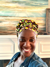 Green, purple and mustard yellow Satin Bonnet Head Wrap