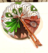 Pink, Green & White Ankara Fan