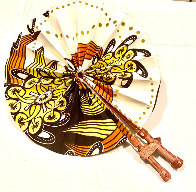 Yellow, Orange & Cream Vintage Ankara Fan