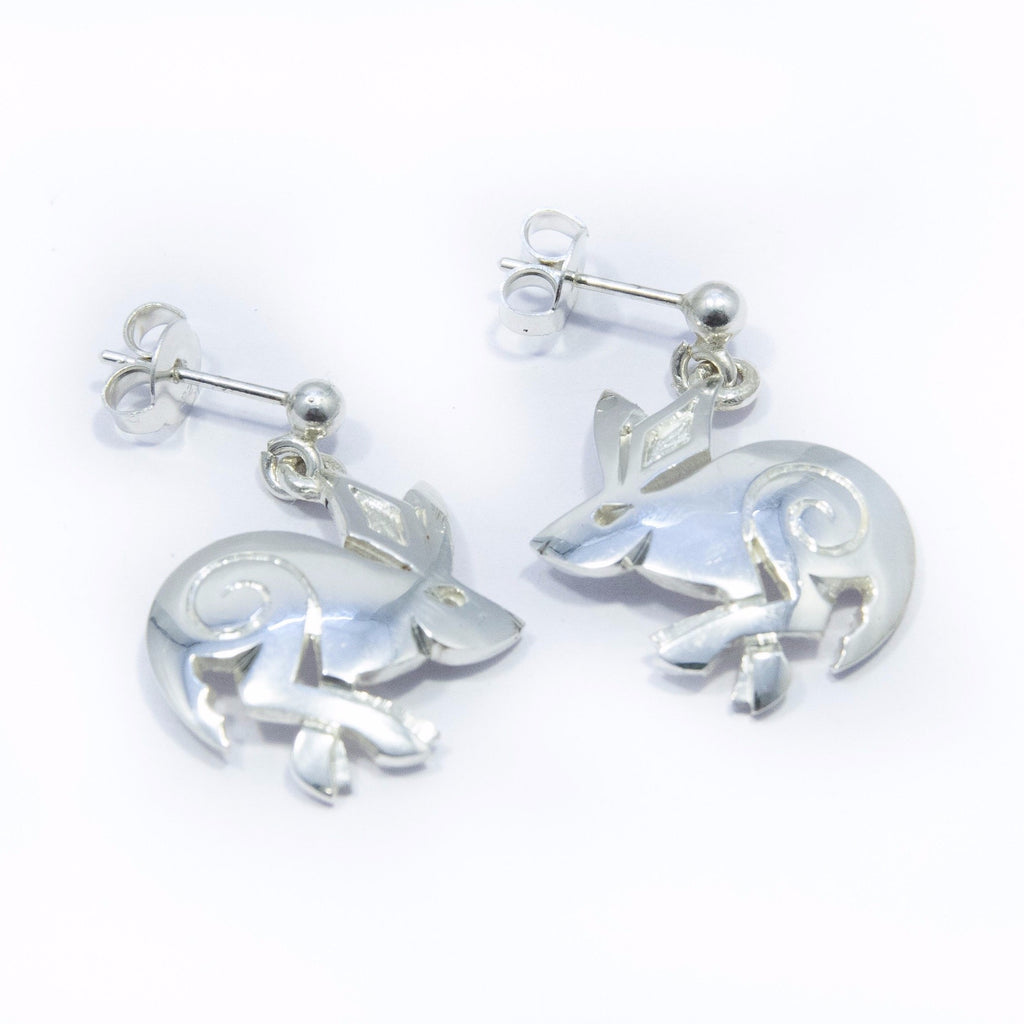 Celtic silver Hare earrings