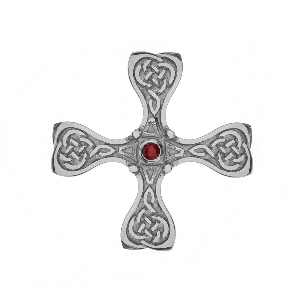 Mithril St. Cuthbert Cross in silver with garnet