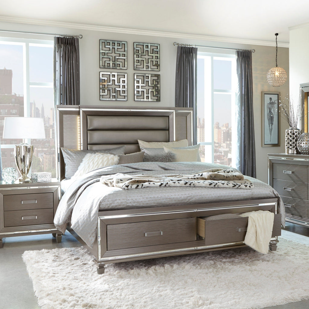 Tasmin Grey Storage Bedroom Set, Bedroom Set, Homelegance - Adams Furniture