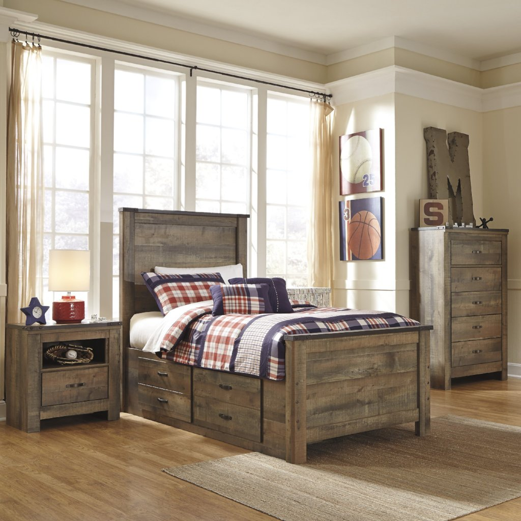 Picture of: Trinell Panel Bed W Storage Bedroom Set Adams Furniture