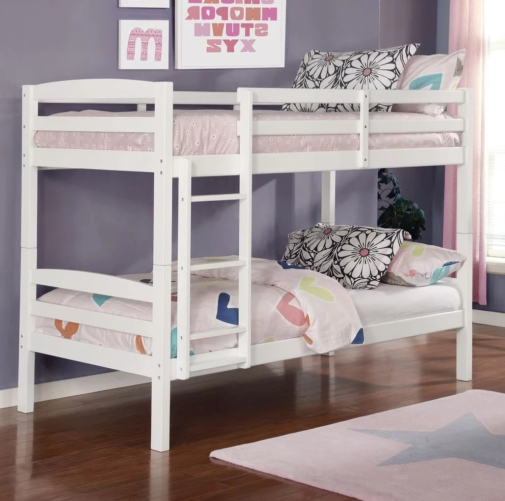 Picture of: Micah White Twin Twin Bunk Bed Adams Furniture