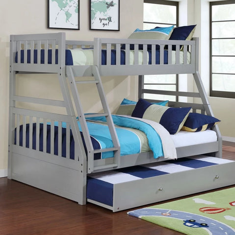 Logan - Grey Twin/Full Bunk Bed, Bunk Bed, Lifestyle Furniture - Adams Furniture