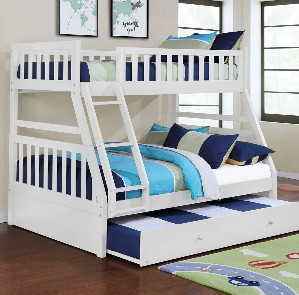 Logan - White Twin/Full Bunk Bed, Bunk Bed, Lifestyle Furniture - Adams Furniture
