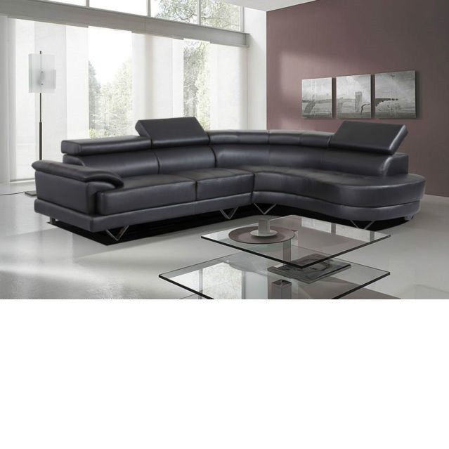 Contemporary Black Sectional, Sectional - Adams Furniture