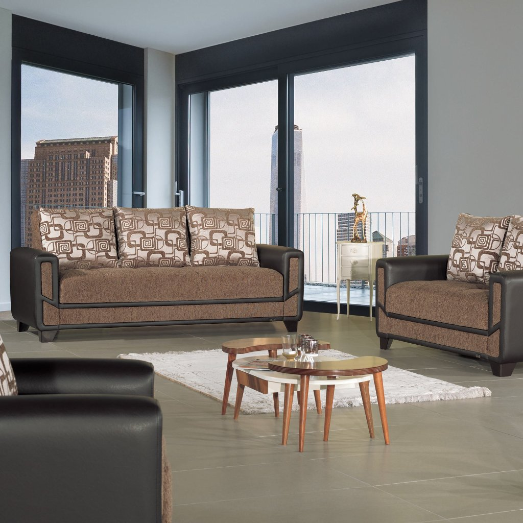 Mondo Brown Convertible Living Room Set – Adams Furniture