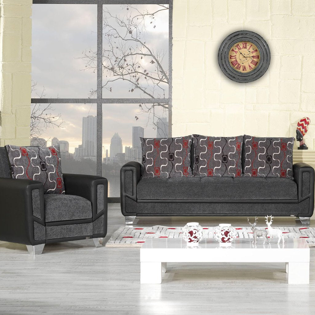Mondo Grey Convertible Living Room Set, Living Room Set, Rugnur - Adams Furniture
