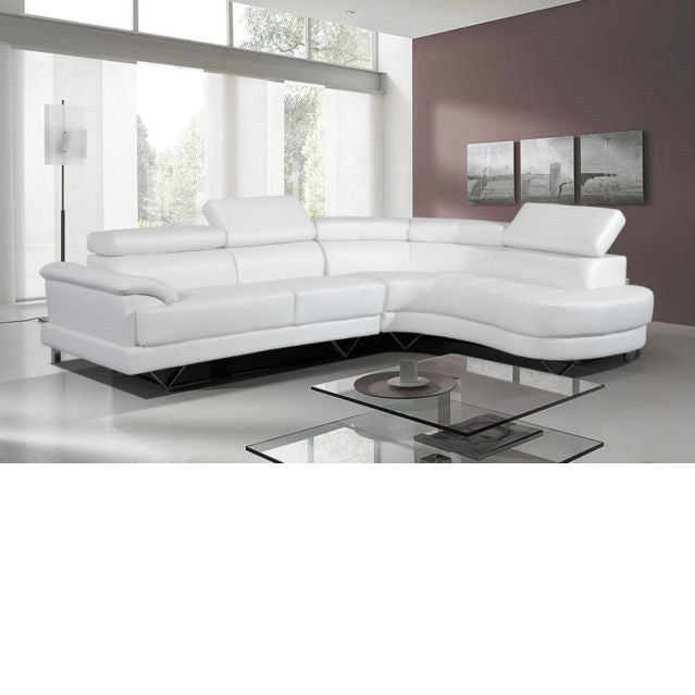 Contemporary White Sectional, Sectional - Adams Furniture