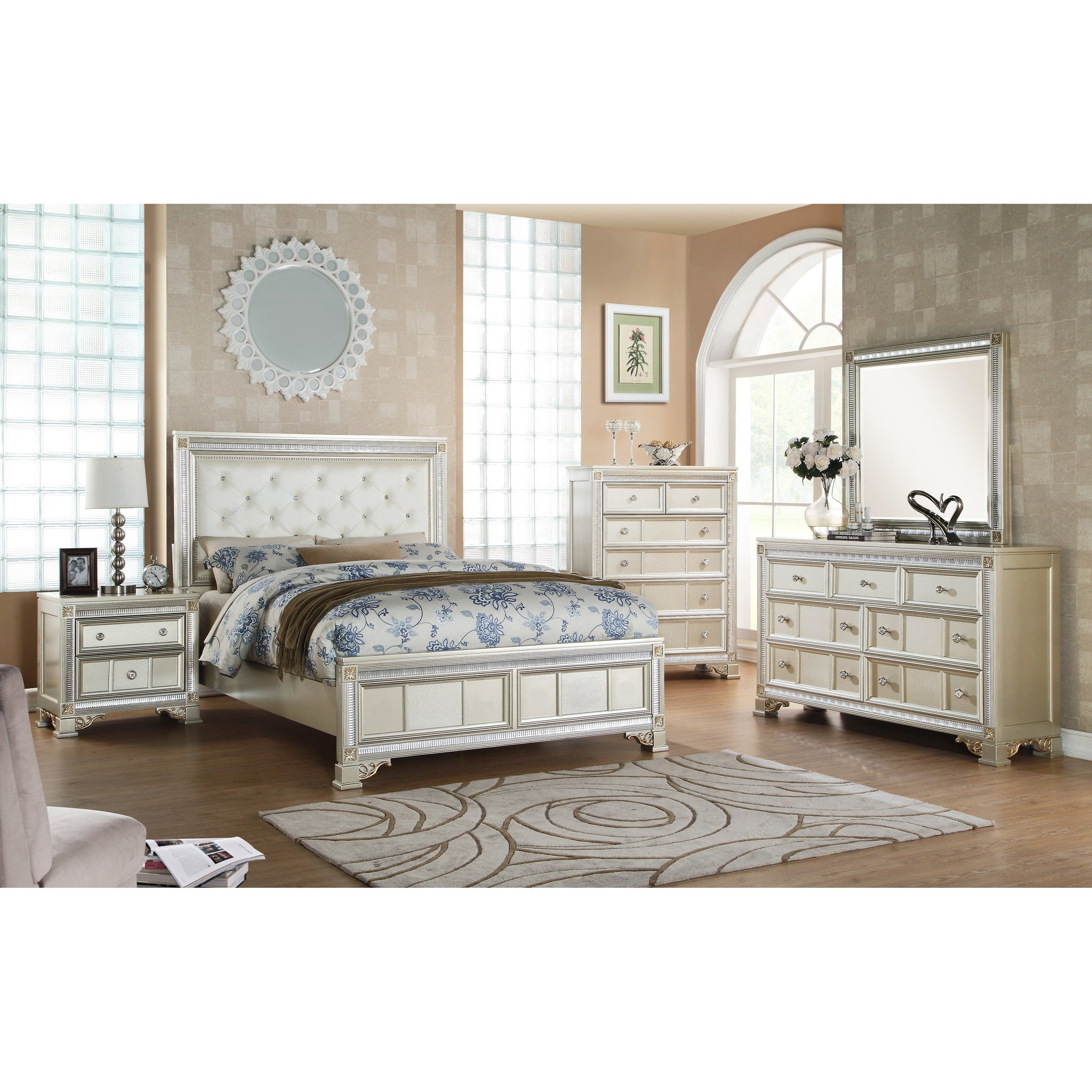 bedroom silver room upholstered panel set bed birlanny by signature ashley design
