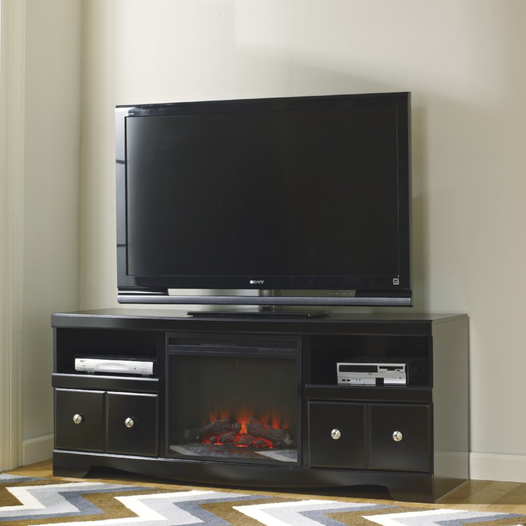 Shay Black Fireplace Tv Stand Adams Furniture