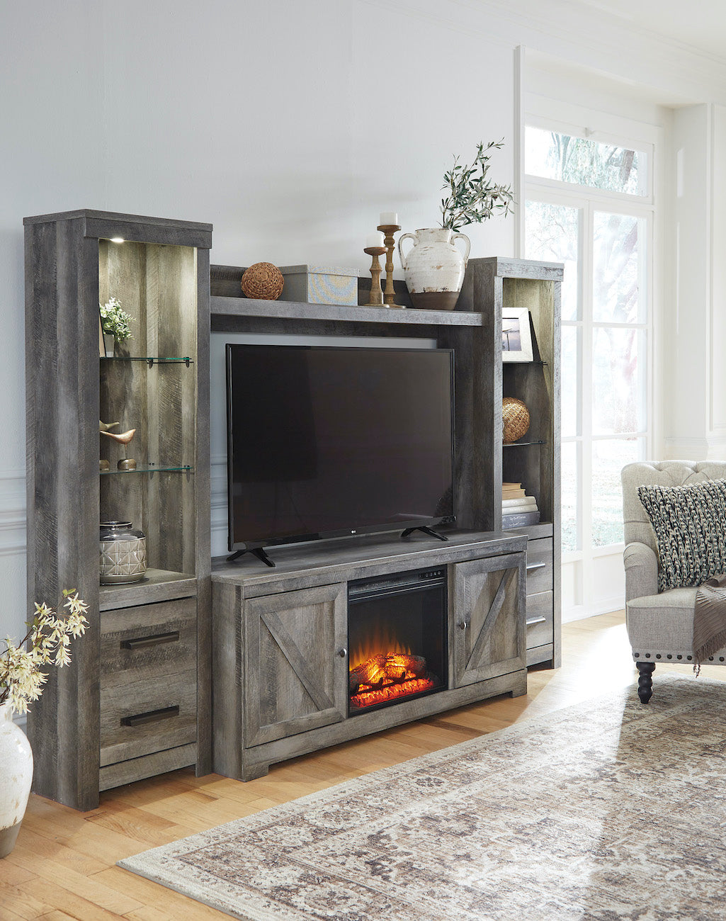 Wynnlow 4 Pice Entertainment Center With Fireplace Adams Furniture