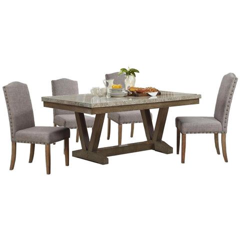 Vesper Rectangular Marble Dining Set, Dining Set, Crown Mark - Adams Furniture