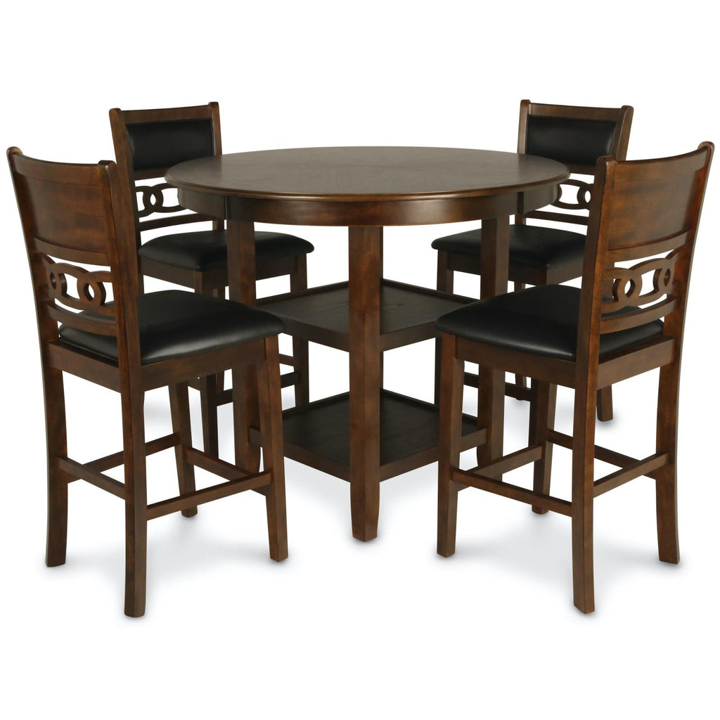 Gia Brown 5 Piece Counter Height Dining Set, Dining Set, New Classic Furniture - Adams Furniture