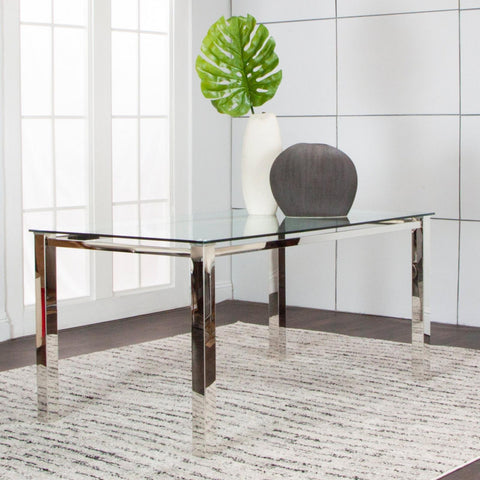 Skyline Rectangular Glass Dining Table, Dining Table, Cramco - Adams Furniture
