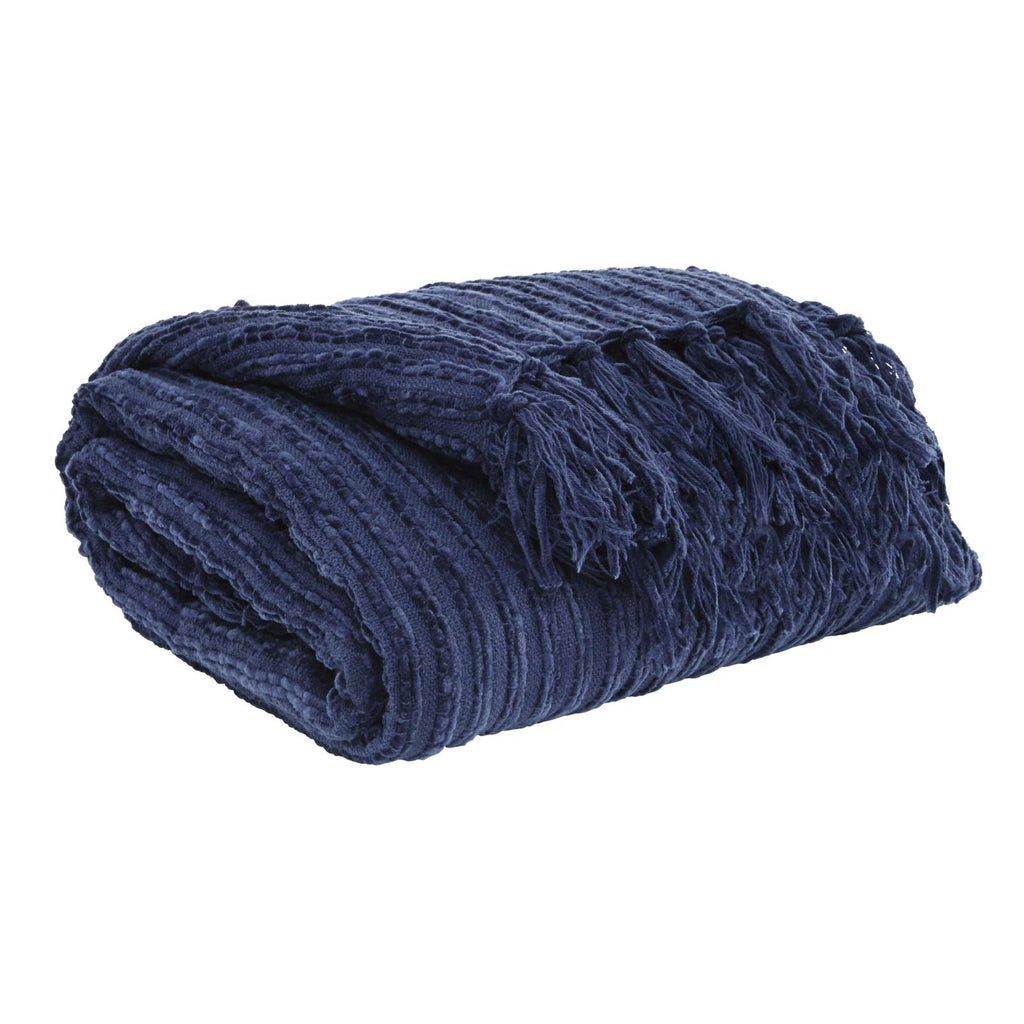 Noland Navy Throw, Throw, Ashley Furniture - Adams Furniture