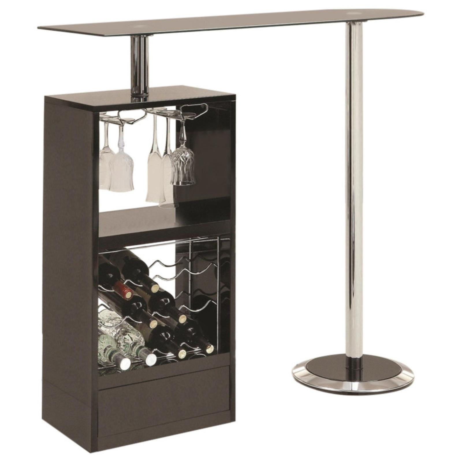 Black Bar Table With Wine Rack Adams Furniture