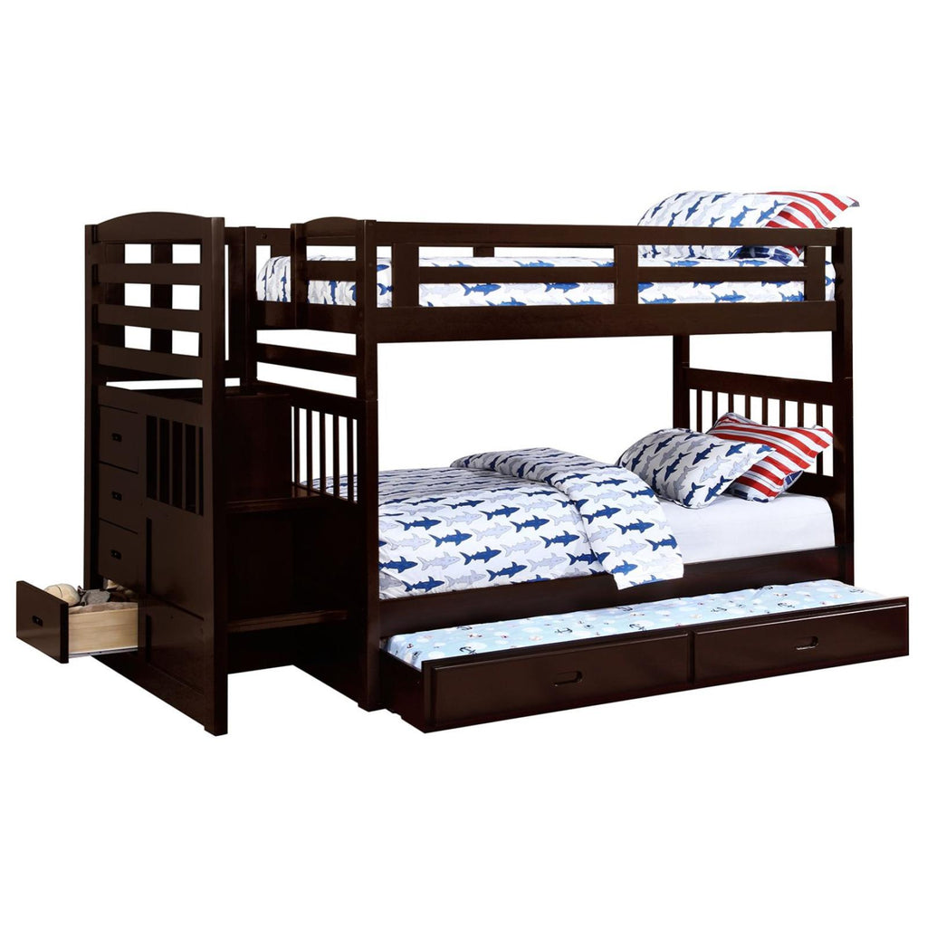 Dublin Twin/Twin Bunk Bed with Staircase & Trundle, Bunk Bed, Coaster Furniture - Adams Furniture