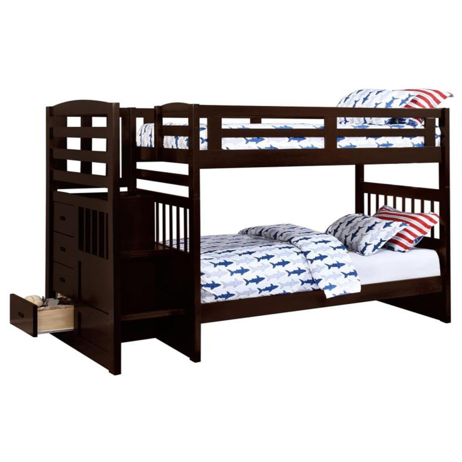 Picture of: Dublin Twin Twin Bunk Bed With Staircase Adams Furniture