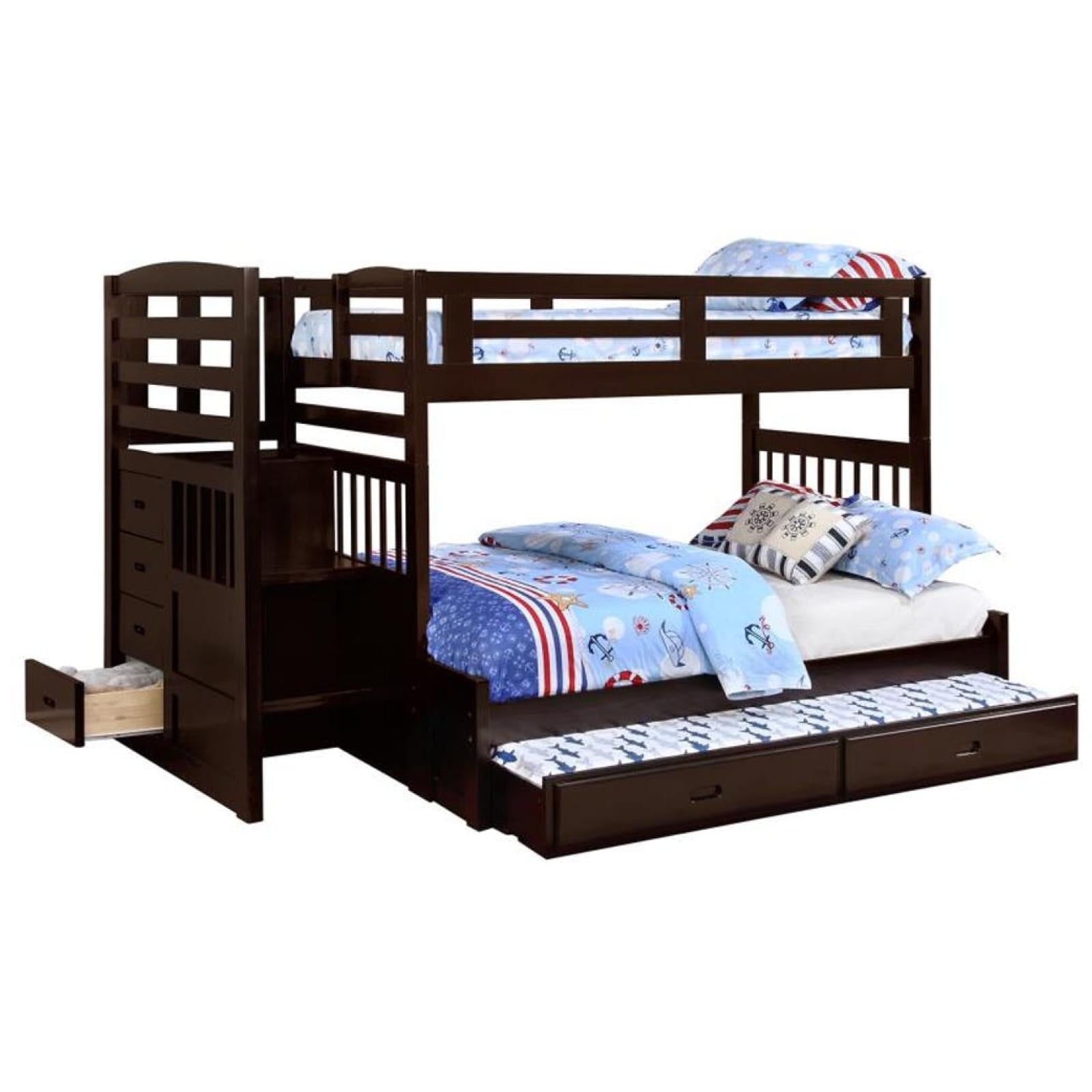 Picture of: Dublin Twin Full Bunk Bed With Staircase Trundle Adams Furniture
