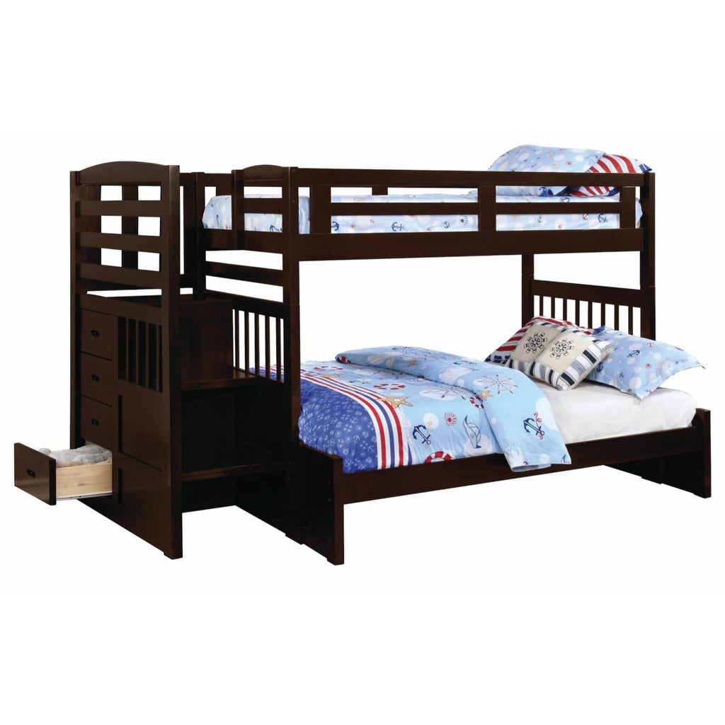 Dublin Twin/Full Bunk Bed with Staircase, Bunk Bed - Adams Furniture