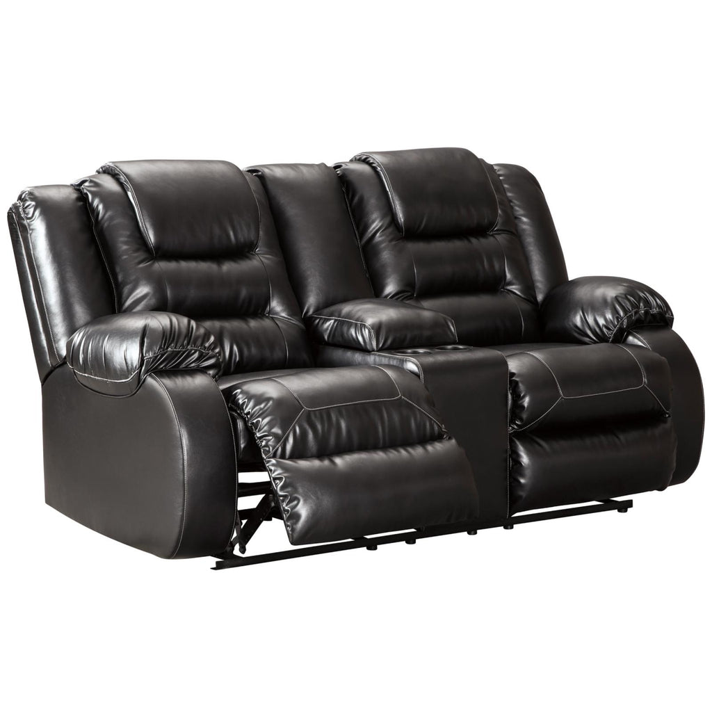 Vacherie Reclining Console Loveseat, Loveseat, Ashley Furniture - Adams Furniture