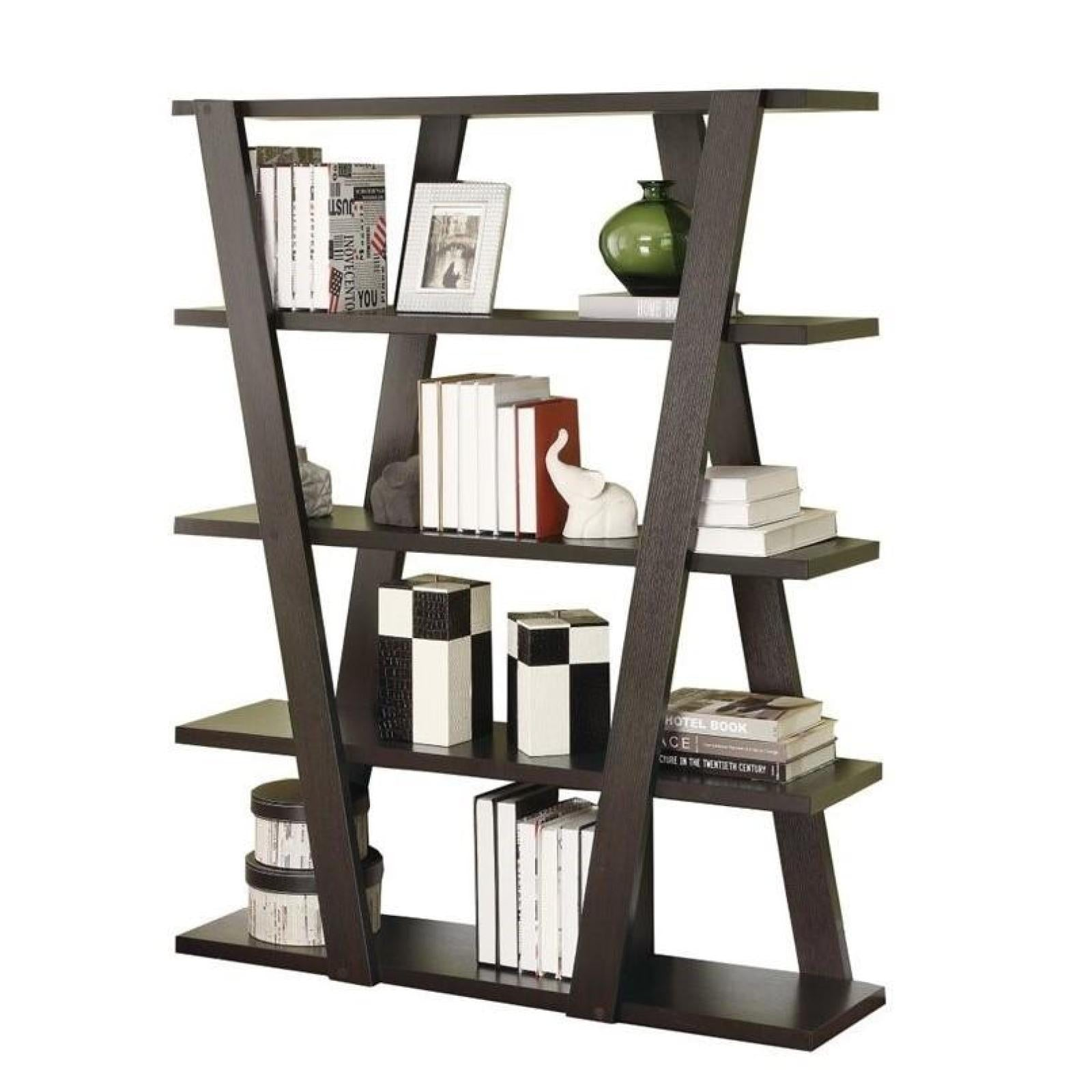 Modern Bookshelf With Inverted Supports Open Shelves Adams