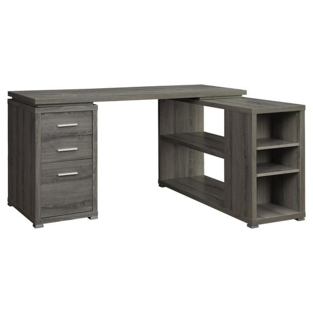 Yvette L-Shape Desk, Desk, Coaster Furniture - Adams Furniture