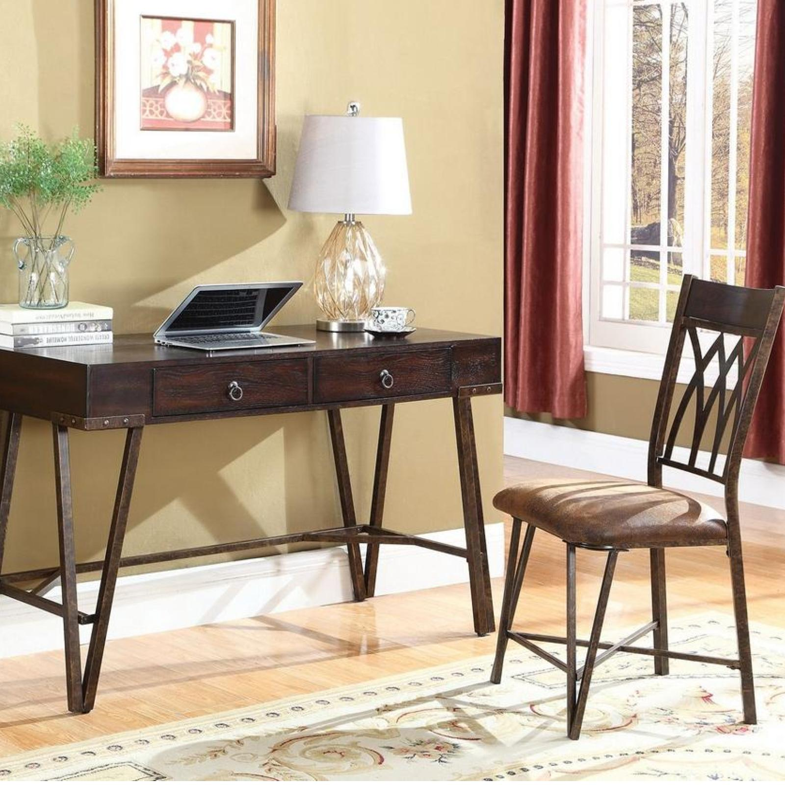 Miraculous 2 Pc Brushed Pecan Wood Antique Brass Metal Desk Chair Set Dailytribune Chair Design For Home Dailytribuneorg